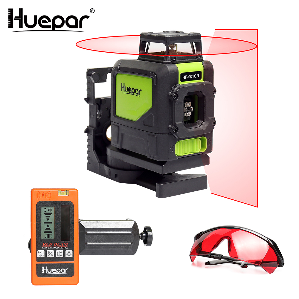 Huepar Red 5 Lines Laser Level Cross Line 360 Rotary Self-leveling Lasers With Digital Laser Detector Receiver + Laser Glasses outdoor receiver for level laser electronic leveling laser level 8 lines with precision detect rotary laser signal 50m g25