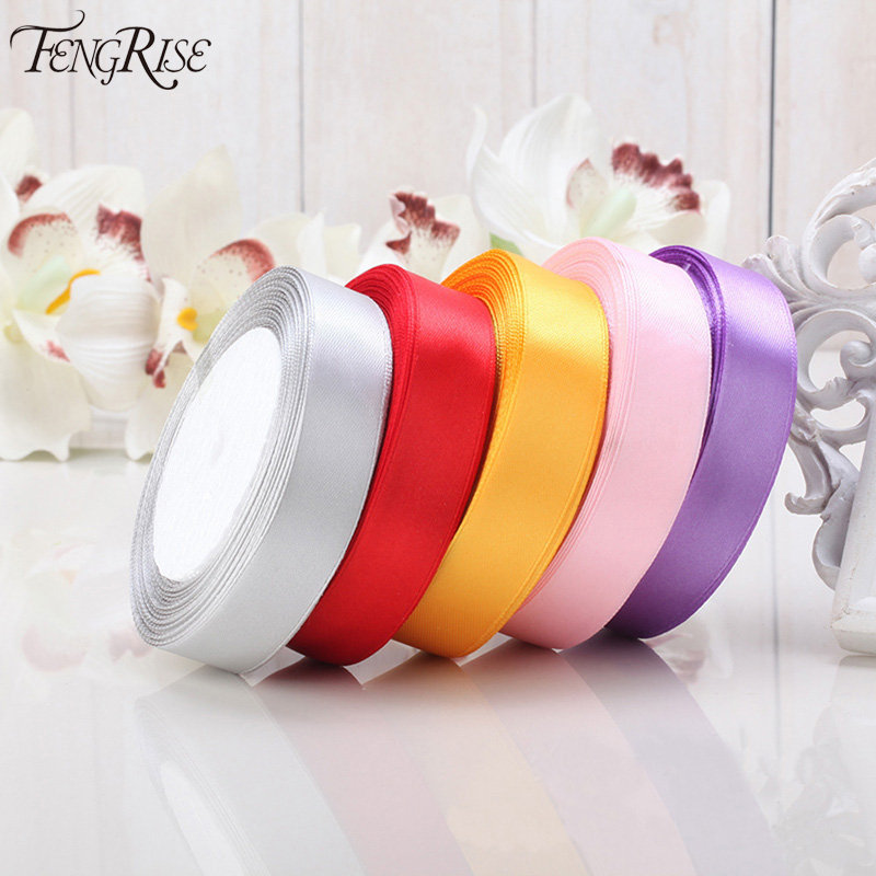 FENGRISE Satin Ribbon 25mm 22 Meters Wedding Silk Ribbon Party Car Decoration Tapes Crafts Festive Events Supplies