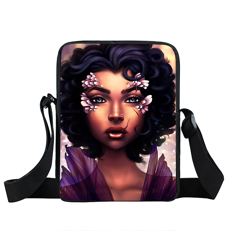 Afro Lady Girl messenger bag Africa Beauty Princess small shoulder bag brown women handbag mini totes teenager crossbody bags 31