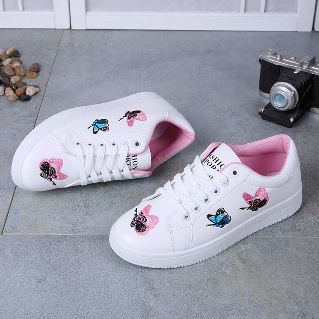 up 2019 Flats Printemps Rose Dames De Femme Dentelle Mode Papillon blanc Mujer Pour Respirant Femmes Chaussures Sneakers Zapatos x10wqn1rR