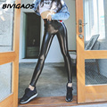 Womens Autumn Winter Leggings Black PU Leather Pants Velvet Thick Warm Leggings Slim Sexy Push Up Legging Skinny Trousers Women