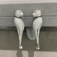 DIY 925 sterling silver with cubic zircon leopard panther pard earring jackets you can design it with pearl or jadeite