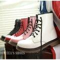 Rápido Envío de La Manera de Las Mujeres Ata para Arriba de la Media Pantorrilla Botas de Combate Punk Tobillo Martin Botas zapatos Planos Tamaño 35-39