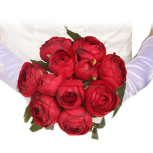 Romantic Bouquet Artificial Rose Flowers Silk Flowers Bridal Hand Bouquets Fake Flower Home Wedding Decoration  WXV Sale все цены