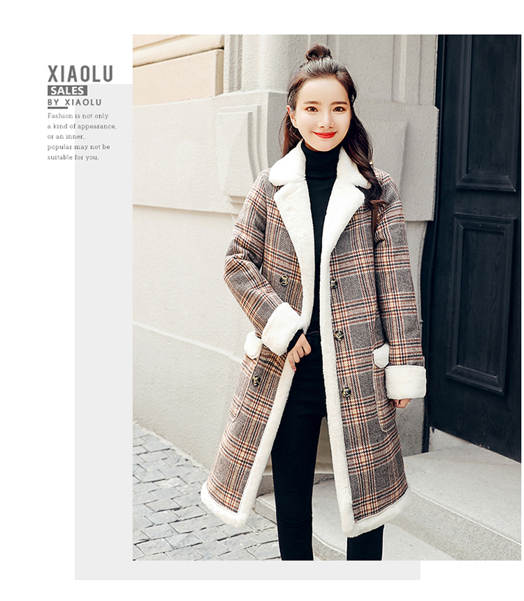 Lamb fur-padded 2018 winter women's new loose-fitting mid-length padded check wool coat, cotton-padded jacket 2