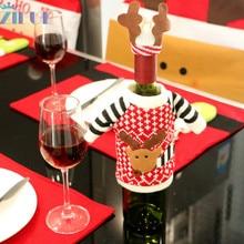 Zilue 1pcs/Lot Christmas Products Knitting Elk Wine Bottle Cover Champagne Bottle Cover Christmas Re