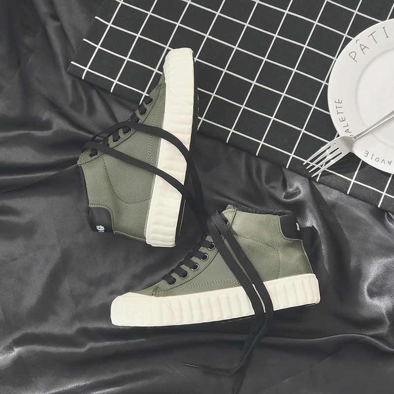 2018 Sıcak Kadın Botları Moda Sıcak Kış Kadın ayakkabı Sonbahar Deri Ayakkabı bayanlar Için Yeni Yüksek Üst Tuval rahat ayakkabılar Kadın
