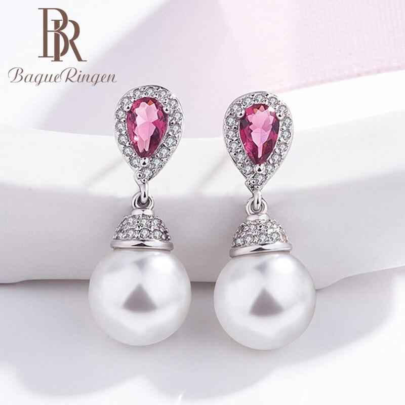 Begua Ringen 925 Sterling Silver Drop Earrings Jewelry Earrings With Round Pearl Zircon Ruby Jewelry Woman Party Gift Wholesale