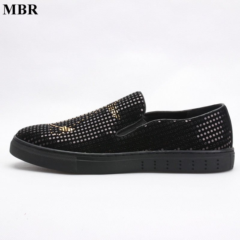 MBR 2017 New Men Casual Shoes Fashion Metal Sequins Loubuten Man Flats Shoes Black Silver Gold Chaussure Homme Size 38-43 new stylish man shoes lace up round toe comfort breathable shoes for man casual flats loafers chaussure homme free shipping