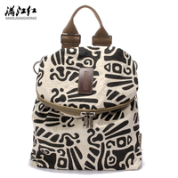 Fashion Vintage Printing Cotton Flax Ladies Backpack Bag Single Shoulder Unisex Bag Male Female Daily Casual