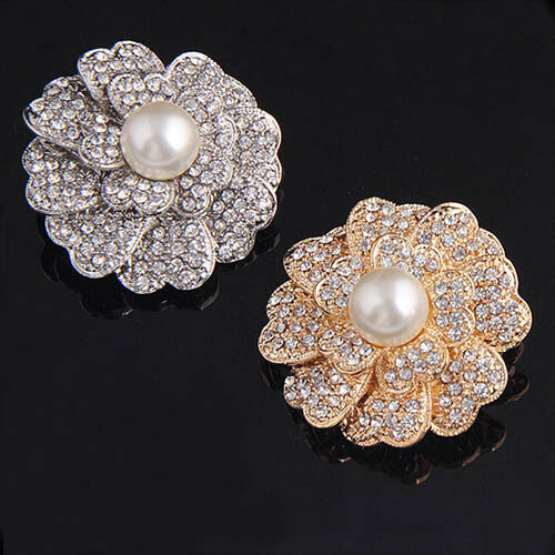 Hot Selling Retail!! Top Quality Cubic Zircon Crystals Flower Brooch