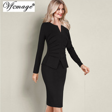 Vfemage Women Winter Elegant Front Zip Up Pleated Ruched Peplum Long Sleeve Wear to Work Office Business Party Sheath Dress 8348