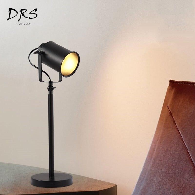 Lampes de Table créatives simples modernes lampes de bureau noires de fer LED d'apprentissage de chambre à coucher de salon