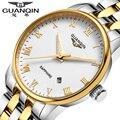 Clásico hombres de acero inoxidable reloj ocasional de la marca guanqin relojes vestido de los hombres de negocios a prueba de agua hombres reloj de cuarzo reloj de pulsera horas