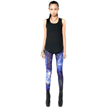 New Knitting Fashion Stars Pattern Women Fitness Leggings Space Printed Pants For Women Girl HB88