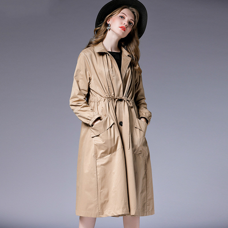TUHAO Turn-down Collar Sashes Pocket Single Breasted 5XL Long   Trench   Coat 2019 Spring Autumn Women's Clothing Overcoat TP7015