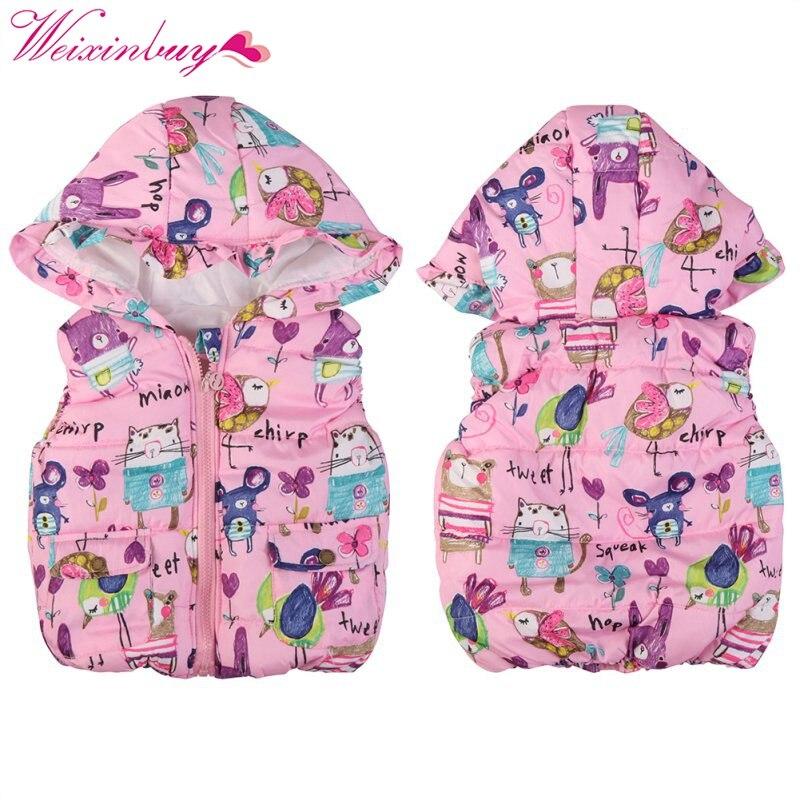 Invierno niños ropa abrigos Animal Graffiti gruesas princesa chicas chaleco con capucha niños Chaquetas Niña chaleco caliente