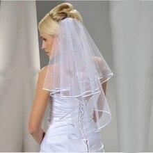 New Two Layers Ribbon Edge Short Wedding Veil With Comb White 2 Layers Bridal Veil Velos De Novia Wedding Accessories