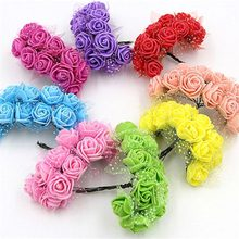 12pcs/lot 2.5cm Pompon PE Foam Rose Heads Artificial Silk Flowers bouquet For Wreaths DIY Wedding Scrapbooking Fake Flower
