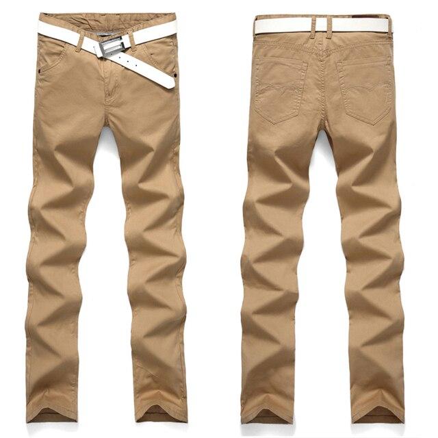 cab4600837b69 Garnitur Spodnie męskie Bawełniane Moda Slim Casual Nowy Znane Marki  Mężczyzna Biznesu Proste Spodnie Europejska i