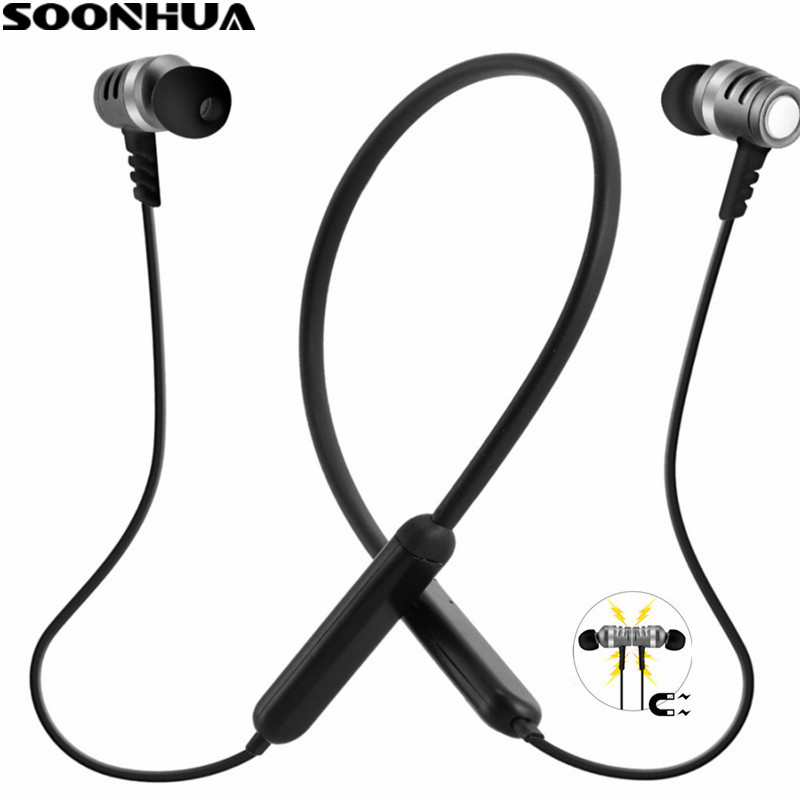 SOONHUA New Magnetic Wireless Sport Earphone Bluetooth 4.1 Stereo Super Bass Headphone Outdoor Sweatproof Headset Long Standby