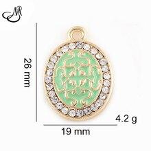 50pcs/lot Gold Plate Rhinestone Oval Charms Pendant Bracelet DIY Handmade Jewelry Accessories PEI253