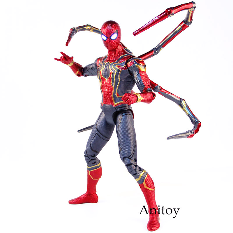 купить Marvel Avengers Infinity War Action Figure Spiderman Iron Spider Man PVC Collectible Model Toy Big Size with Lighted Eyes недорого