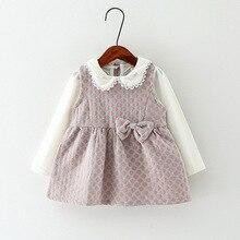 Automne enfants vêtements de fille Coréenne à manches longues T-shirt + robe 2 pièce bébé Princesse robes roupas infantis menina 1-3Y