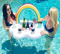 2018 New Cloud Rainbow Inflatable Drink Cup Holders Ice Beer Boat 4 Holders PVC Swimming Float Water Toys Pool Party Decorations