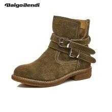 Для женщин круглый носок квадратный каблук толстый каблук Сапоги и ботинки для девочек Обувь для девочек ремень пряжка ковбойские ботинки Martin зимняя обувь