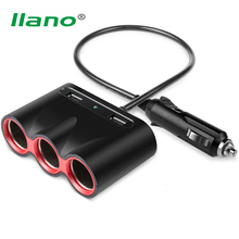 llano 3.1A Fast Car Cigarette Lighter Adapter 3 Way Cigarette Lighter Splitter with Dual USB Car Charger for Smartphone DVR GPS
