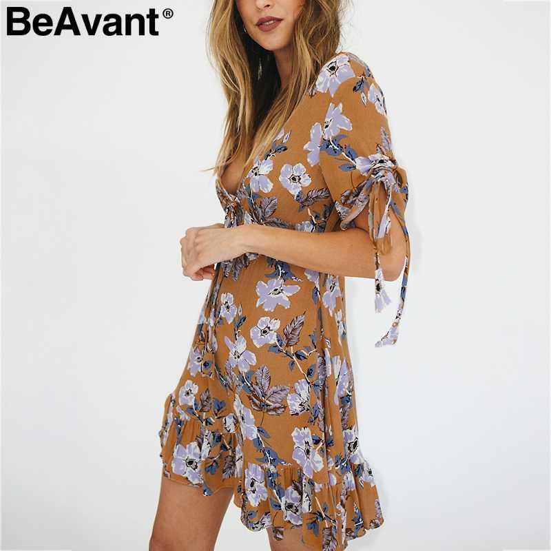 BeAvant Boho женское платье с цветочным принтом, сексуальное, v-образный вырез, шнуровка, короткий рукав, женские короткие платья, высокая талия, гофрированные женские платья