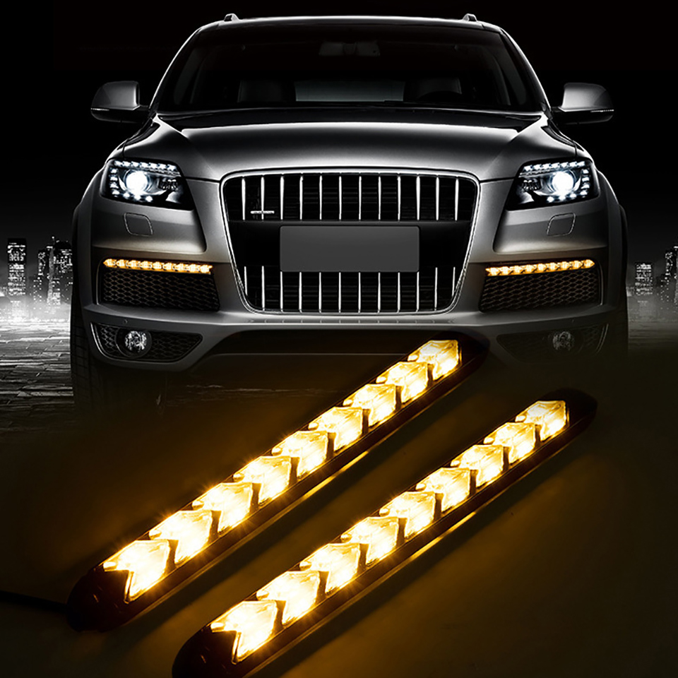 12V 2Pcs Led DRL Day Time Running Light White Ice Blue Red with Arrow Streamer Turn Signal Yellow Lighting 6/9/12 LEDs