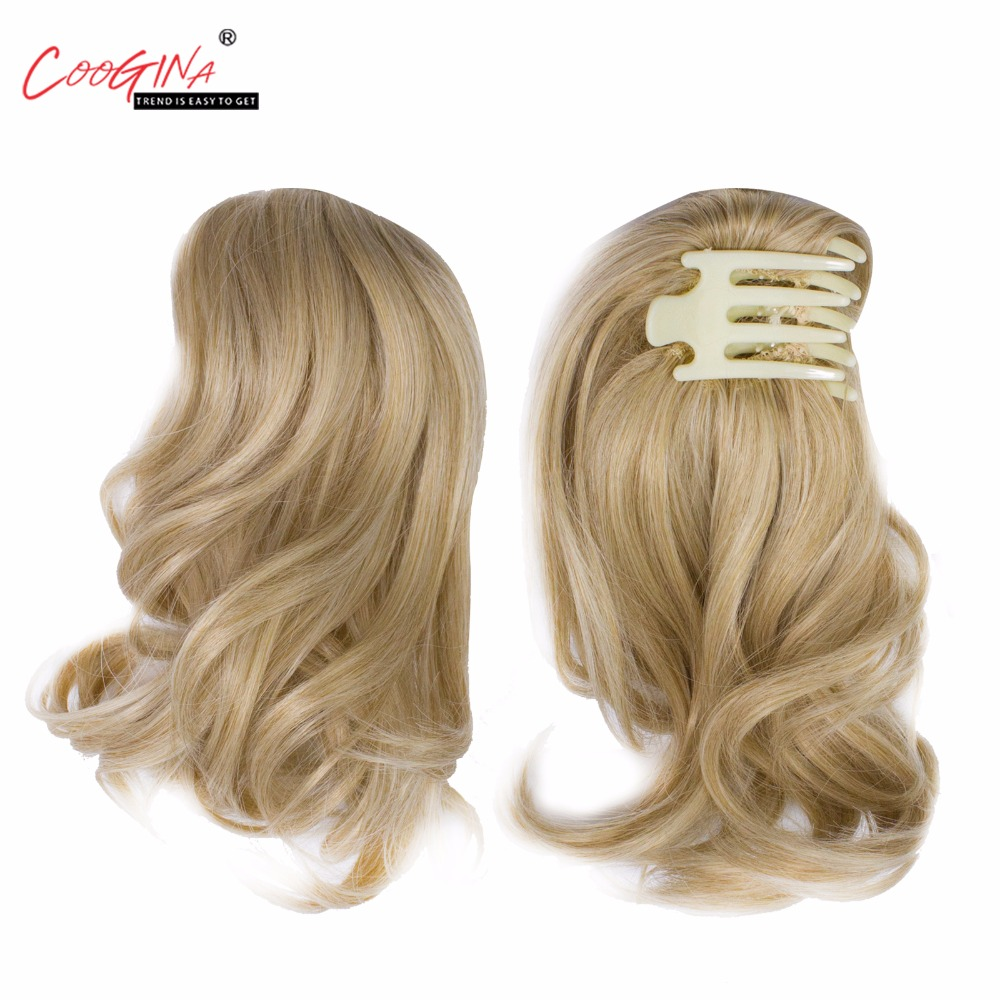 Coogina 2018 New Women Synthetic Plastic Claw Ponytails 6.5'' 50grams Curly Tail Clip Tail Extension Russia Girls pure color