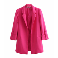 Pink Women Elegant Blazer Jackets 2019 Spring Autumn Fashion Office Ladies Notched Collar Suits Coat Girls Chic Tops Set clothes