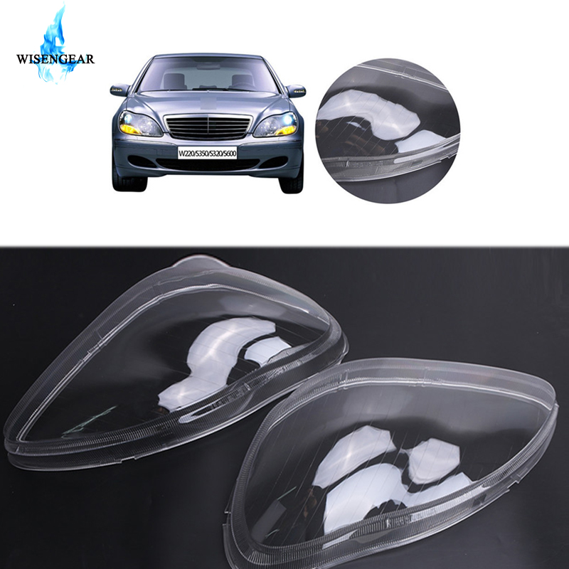 WISENGEAR Left Right Headlight Lens Cover For Mercedes <font><b>Benz</b></font> MB <font><b>W220</b></font> S350 S600 S430 <font><b>S500</b></font> S55 S65 2000-2006 Headlamp Clear Shell / image