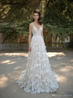 2018 Wedding Dresses Spaghetti Neck Beads 3D Floral Appliques Lace Backless Bridal Gowns Crystal Sweep Train Real Image Bride
