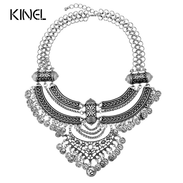 Kinel Bohemia Necklace For Women Plating Silver Currency Tassel Chunky Necklace Luxury Crystal Gifts Vintage Jewelry