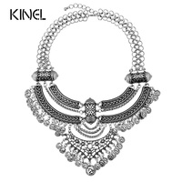 Kinel Bohemia Necklace For Women Plating Silver Gold Currency Tassel Chunky Necklace Luxury Crystal Gifts Vintage
