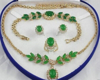 Hot sale@> Jewelry 001431 Jewelry Gold Plated green jade Necklace Bracelet Ring Earring Sets Natural jewelry