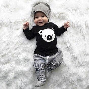 MUQGEW Children clothing set Cartoon Koala T-Shirt Tops +Striped Pants Baby Boy Clothes newborn baby boy clothes roupa infantil
