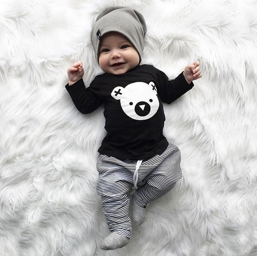 ba7cd46422b0 MUQGEW Children clothing set Cartoon Koala T-Shirt Tops +Striped ...