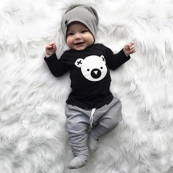 MUQGEW Odzież dziecięca zestaw Cartoon Koala T-shirt bluzki + paski spodnie Baby Boy ubrania noworodek chłopiec ubrania roupa infantil tanie i dobre opinie W MUQGEW Nowość Bawełna Sukno Unisex Pełne Kreskówki O-Neck Sweter Regularne Mieszanka bawełny outfits W dół Parkas
