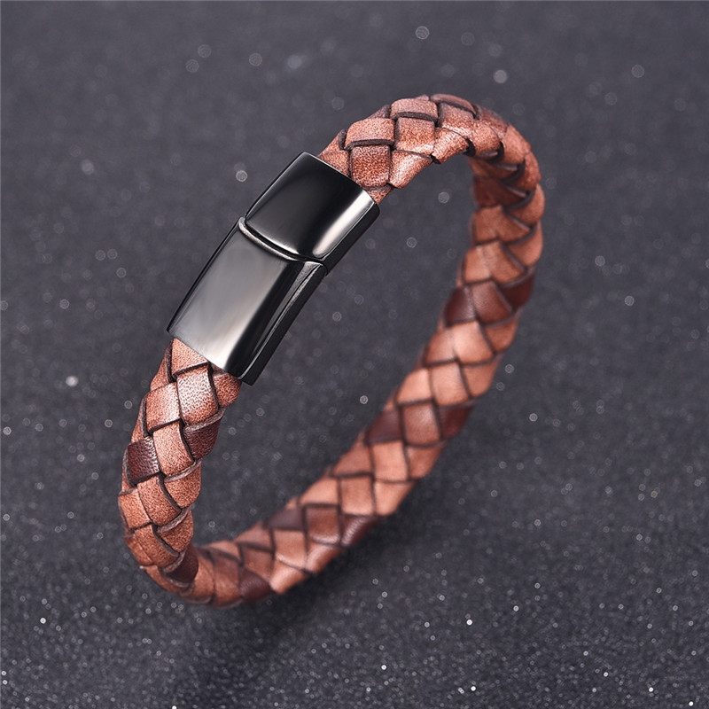 Jiayiqi Fashion Men's Genuine Leather Bracelets Woven Bracelet Stainless Steel Magnetic Buckle Bangle Jewelry Best Gift jiayiqi new mens bracelets stainless steel black silicone bracelets charm bracelet male bangle for men jewelry 2017 silver color