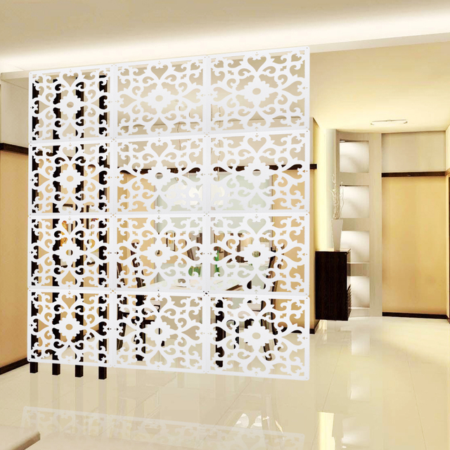 White Room Screen Divider Wall Hanging Curtain Panels Parion Carved Pattern E Division Crafts Home Decoration 12pcs Lot