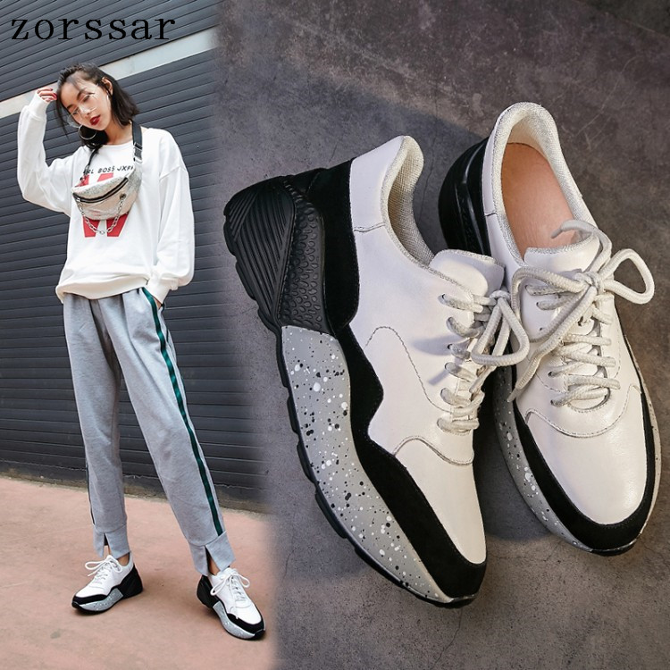 Leather Women Sneakers Shoes Woman Casual Flats Women's Flat Shoes Autumn Breathable Round Toe Lace-up white Teenagers Shoes