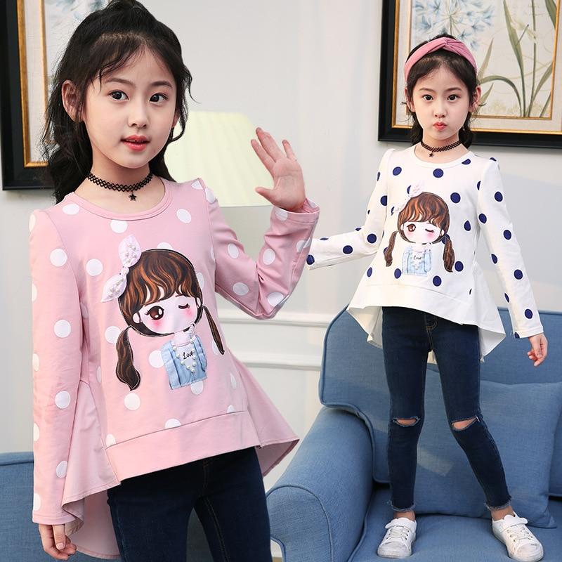 2018 Spring Autumn Children Clothes Girl's T Shirt Cartoon Printed Dot Long Sleeve T-shirts 4 6 8 10 12 13 Years Girls Clothing mushroom polka dot printed long sleeve shirt