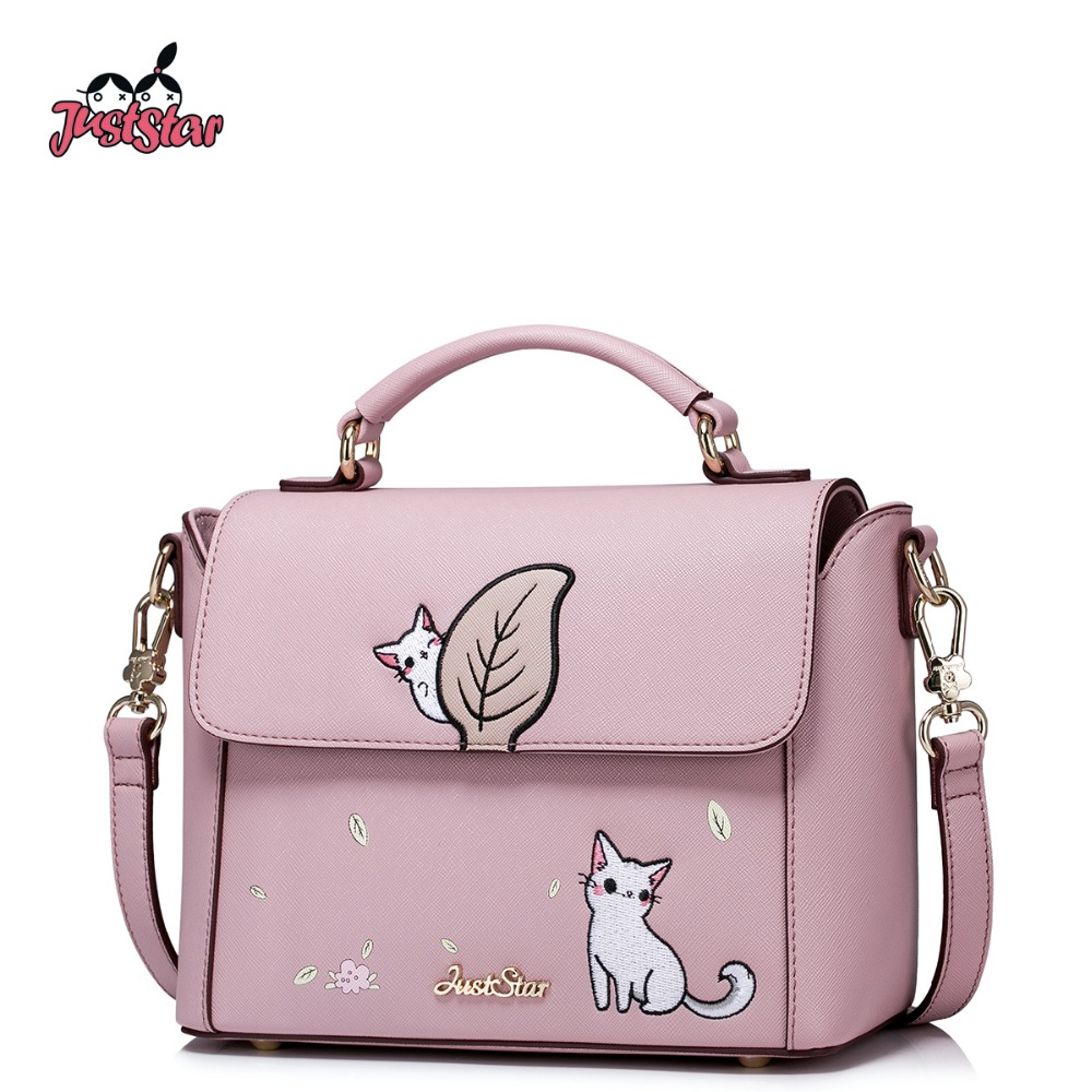 JUST STAR Women PU Leather Handbag Ladies Fashion Small Cat Tote Shoulder Purse