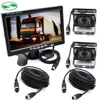 12 24V 7 Inch LCD Car TFT Monitor Parking Assistance + 2 Sets 4 Pin IR Night Vision CCD IR Rear View Camera For Bus Van Truck