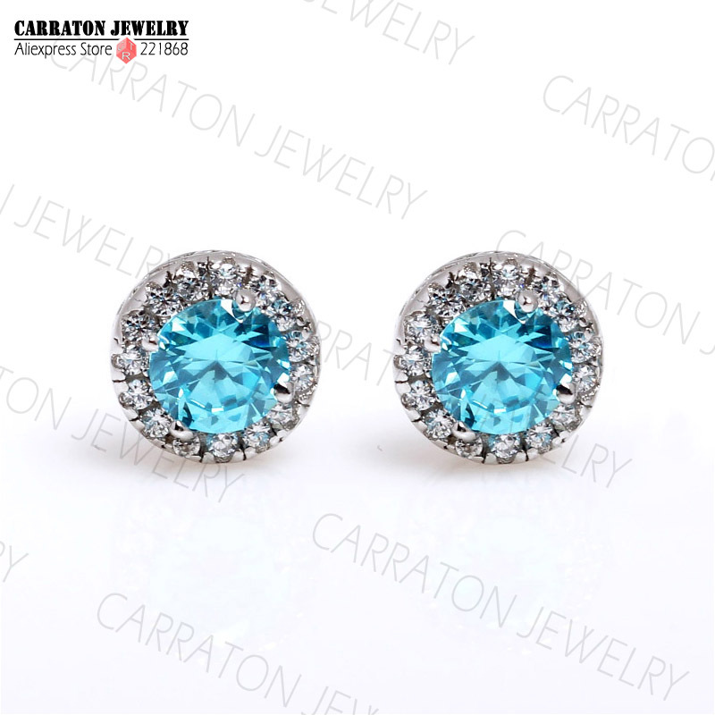 Carraton KLTE001 Genuine 925 Sterling Silver Garnet Blue Zirconia 4 5mm CZ Crystal Women Stud Earring